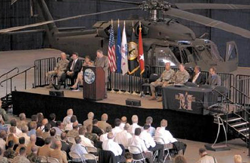 Rollout ceremony for delivery to the US Army of the first production UH-60M Black Hawk helicopter