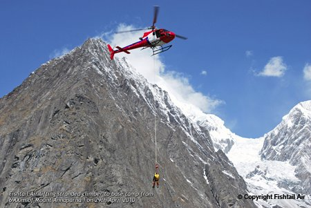 The world's highest-altitude longline rescue is performed by Fishtail Air's newly-delivered no. 2 Eurocopter AS350 helicopter