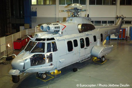 The Royal Malaysian Air Force's first EC725 helicopter is unveiled at the LIMA 2011 exhibition in a live video broadcast from Eurocopter's French headquarters