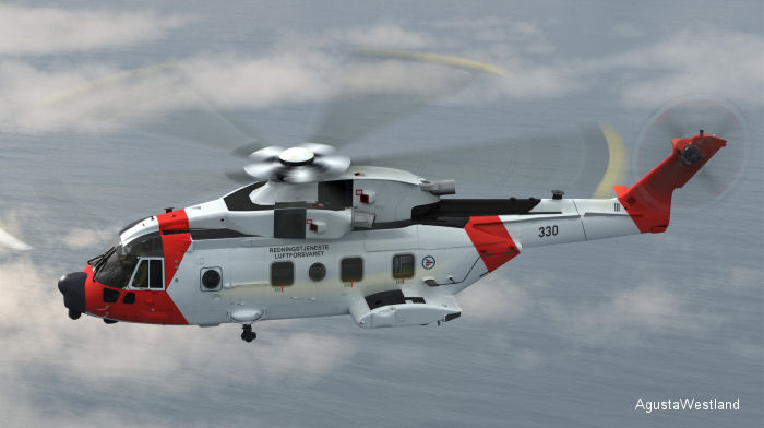 AgustaWestland awarded contract for Norwegian All Weather SAR Helicopter (NAWSARH) program of 16 AW101 plus support and training worth approx €1.15 billion