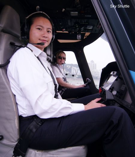Captain Meg Lam (Front) and First Officer Kirsty Holtkamp flying together on 6th May 2013.