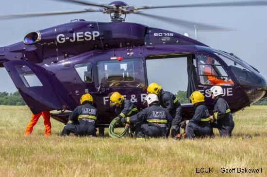 Saving lives from the sky: Eurocopter operators helicopters provide a dramatic demonstration of emergency services at the Royal International Air Tattoo