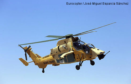 The initial HAD/E Tiger assembled in Eurocopter Spain performs its first flight