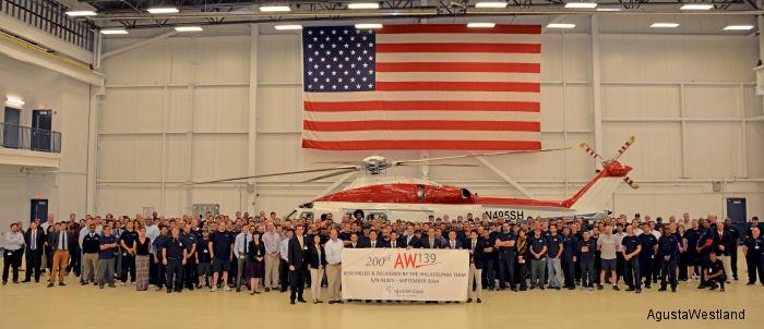 AgustaWestland Philadelphia Delivers 200th AW139