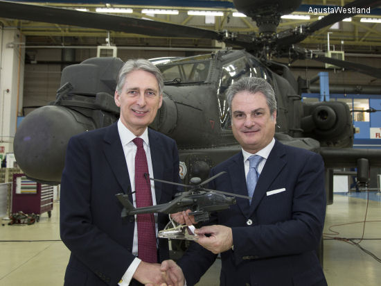 The Rt Hon Philip Hammond MP, Secretary of State for Defence (left) and Mr. Daniele Romiti, CEO of AgustaWestland (right).