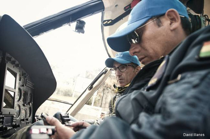 An AS350B3 helicopter operated by the Bolivian Air Force helped in the construction of the world's longest urban aerial cable-car system at La Paz city. It hung all 4,000 meters of the cable network