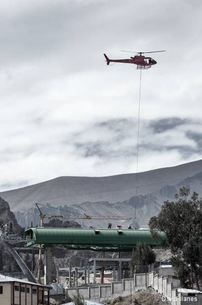 AS350 B3 pilot helps build worlds longest urban cable car system in Bolivia