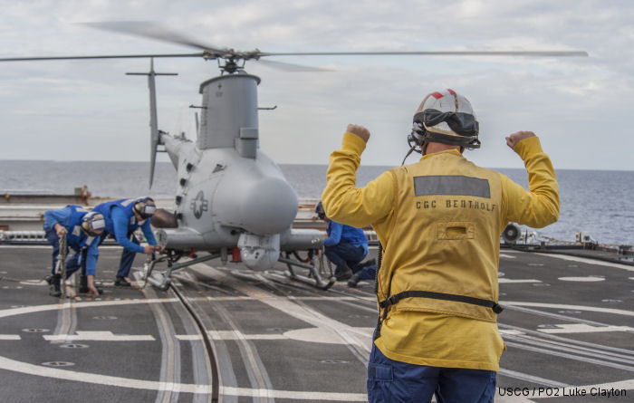 Northrop Grumman, US Coast Guard and US Navy flew the MQ-8B Fire Scout unmanned helicopter on the Coast Guard Cutter USCGC Bertholf (WMSL 750) near Los Angeles, Dec. 5, 2014.