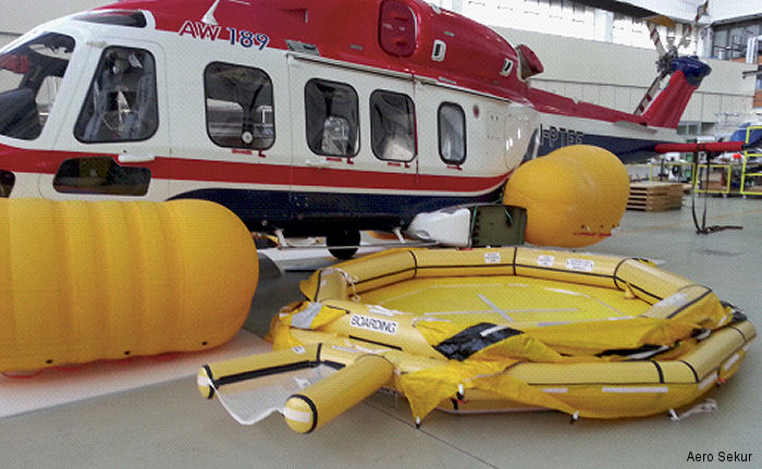 Aero Sekur announce at Paris Airshow full qualification of its AW169 flotation system. External life-raft and emergency flotation systems are being adopted across the AgustaWestland 139, 169 and 189