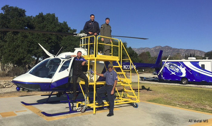 "All Metal MS delivered custom Bell 206 ""Safety First"" maintenance stands to The City of Pasadena Helicopter Section"