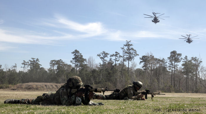 Royal Dutch Marines train with USMC HMH-454 at the Expeditionary Operations Training Group compound at Stone Bay, aboard Marine Corps Base Camp Lejeune, North Carolina, March 17, 2015