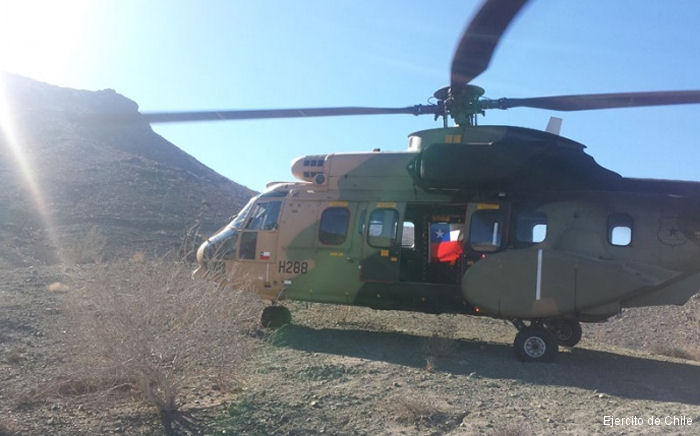 Three AS532 Cougar, a SA330 Puma and a AS355 Ecureuil of the Chilean Army Aviation Brigade are helping in flood affected northern region