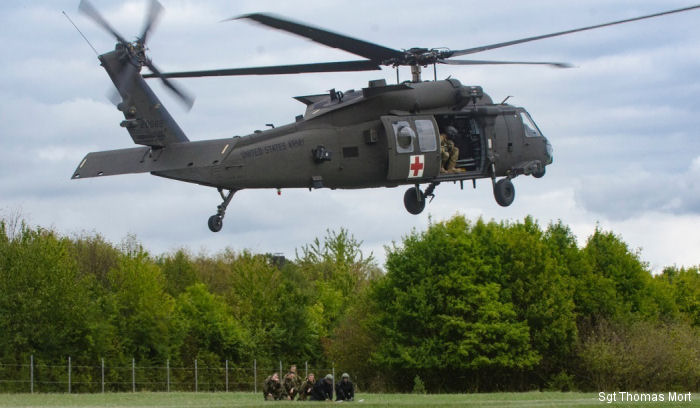 US Army 4-3 AVN, current rotational aviation force attached to the 12th Combat Aviation Brigade based in Germany, sent HH-60 Medevac Black Hawk to support training for German Bundeswehr Soldiers