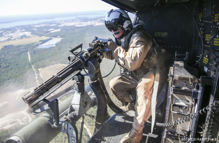 Marines with Marine Light Attack Helicopter Squadron HMLA-167 conducted urban close air support training with UH-1Y Venom at Camp Lejeune, North Carolina