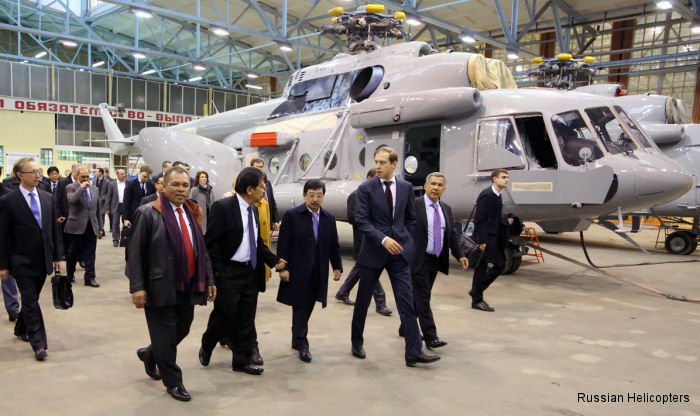 Russian Minister of Industry and Trade Denis Manturov and a delegation from Indonesia headed by Coordinating Minister for Economic Affairs Sofyan Djalil visited Russian Helicopters Kazan plant