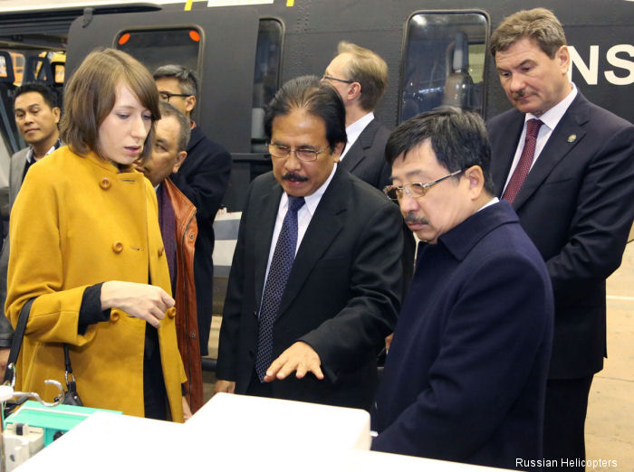 Russian Minister of Industry and Trade Denis Manturov and Indonesian delegation visit Russian Helicopters Kazan plant