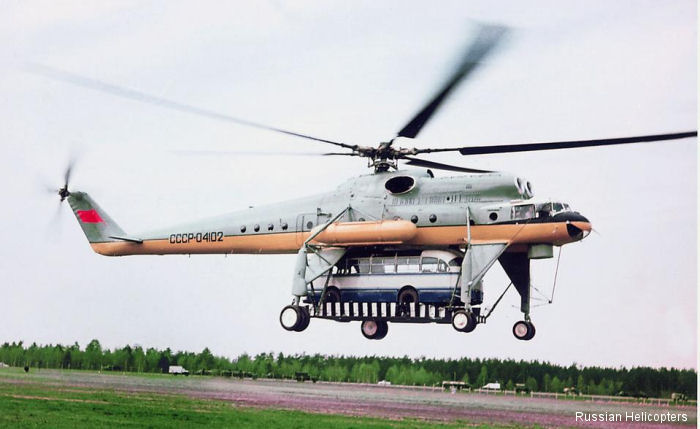 In 1965, the Mi-10, piloted by test pilot Raphael Kaprelyan, lifted a weight of 15 tons to a height of 2840 meters, as well as a 5-ton load to 7151 meters.