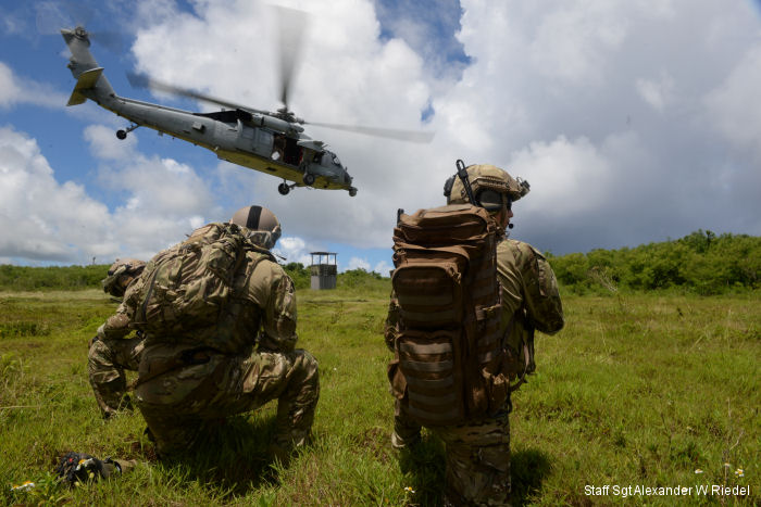 Tactical Air Control Party (TACPs) from USAF 3rd ASOS with a US Navy MH-60S Seahawk from HSC-25 duraing close air support joint training in Guam