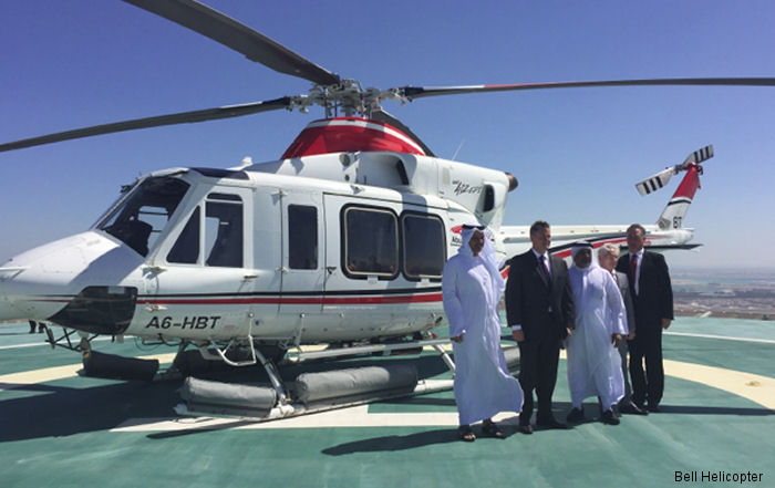 Abu Dhabi Aviation from United Arab Emirates celebrating 40 years and 1 million hours of operation with Bell helicopters