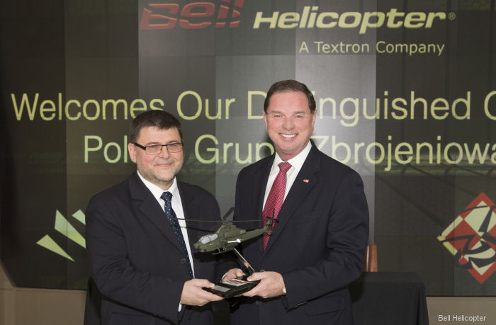 "Bell Helicopter and Polska Grupa Zbrojeniowa (PGZ) signed a Letter of Intent (LOI) to support the AH-1Z in case to be selected by the Polish Armed Forces attack helicopters ""Kruk"" Program"