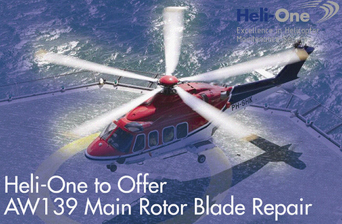 Heli-One, CHC MRO service, announce plans to add in-house AW139 main rotor blade repair capability at its Stavanger, Norway facility by July 2017