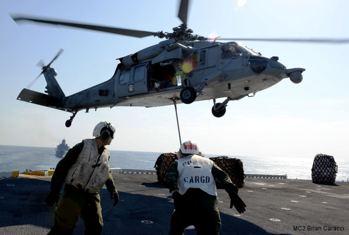 MH-60S Seahawk from Helicopter Sea Combat Squadron HSC-23 Detachment One embarked aboard USS Boxer (LHD-4) since September 2015 supporting the ship and 13th MEU Marine Expeditionary Unit