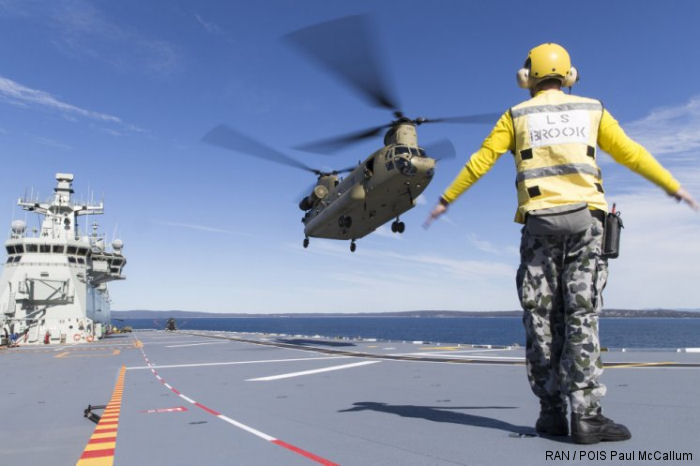 Royal Australia Navy completed trials with Army's new  CH-47F Chinook helicopter which embarked on the recently commisioned assault carrier HMAS Adelaide in early August
