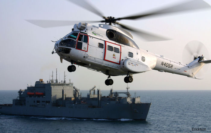 Erickson renewed with Military Sealift Command to provide rotary wing vertical replenishment to US Navy 5th and 7th Fleets with SA330 Puma helicopters. Erickson/Evergreen provides VERTREP since 2004