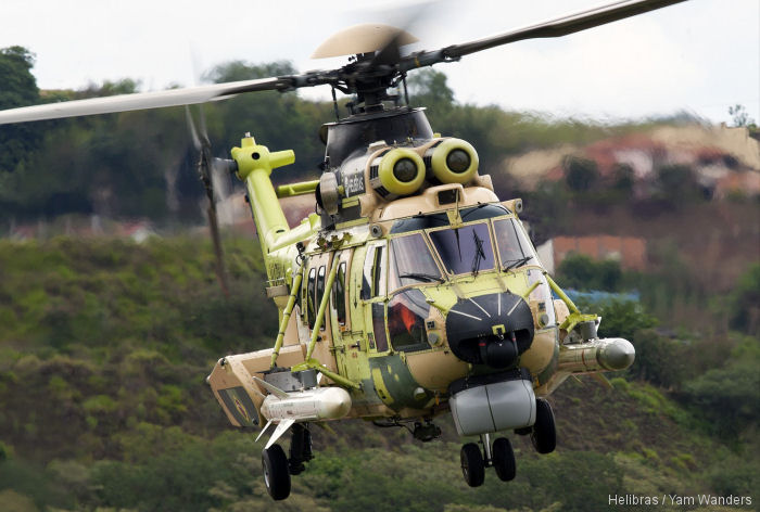 Helibras unveil first Brazilian Navy H225M Caracal armed with 2 MDBA Exocet anti-ship missiles. Five to be delivered between 2018 and 2022