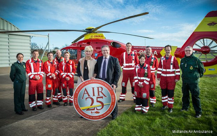 2016 marks the 25th anniversary of the vitally important emergency pre-hospital service provided by Midlands Air Ambulance Charity.