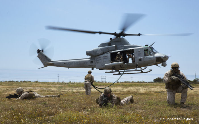U.S. Marines performed Helicopter Rope Suspension Training (HRST) from UH-1Y Venom at Camp Pendleton, CA