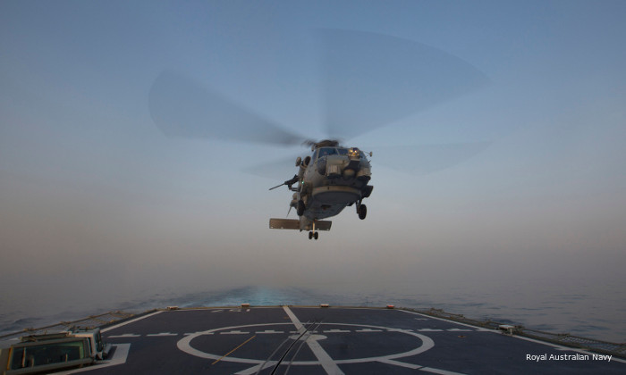 Royal Australian Navy new MH-60R Seahawk deployed for the first time with frigate HMAS Perth to the Middle East as part of Operation Manitou