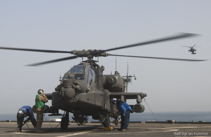 California Army National Guard 40th Combat Aviation Brigade Apaches and Chinooks conducted training exercise aboard the USS Ponce (AFSB(I)-15, interim Afloat Forward Staging Base) in the Persian Gulf