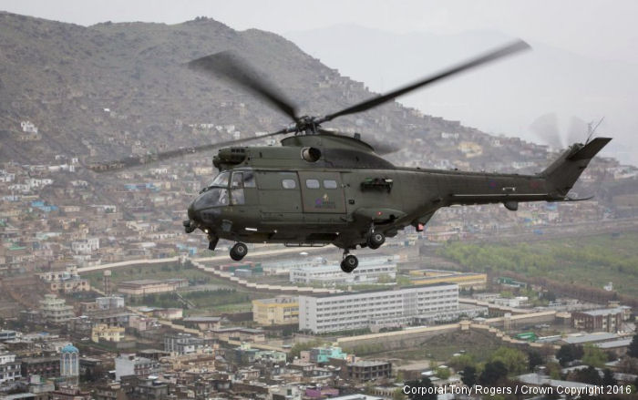 In their first operational deployment, RAF Puma Mk.2 helicopters from Operation Toral completed one year in Kabul. They replaced the Chinook detachment on April 2015 in NATO mission Resolute Support