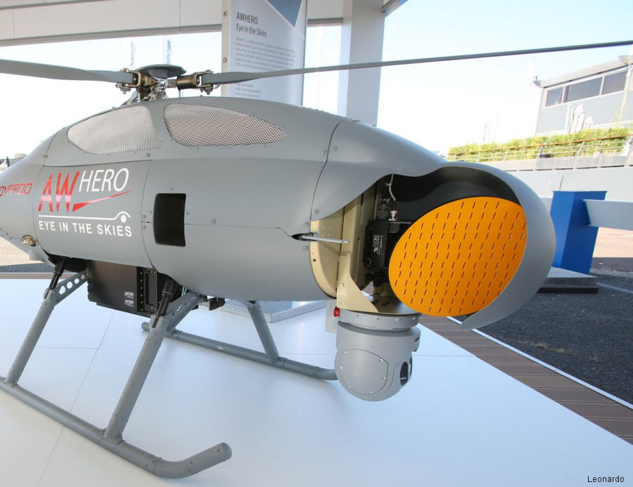 The new Gabbiano TS Ultra-Light (UL) surveillance radar integrated onto the Leonardo's 'Hero' mini unmanned rotorcraft is featured at the Paris Air Show