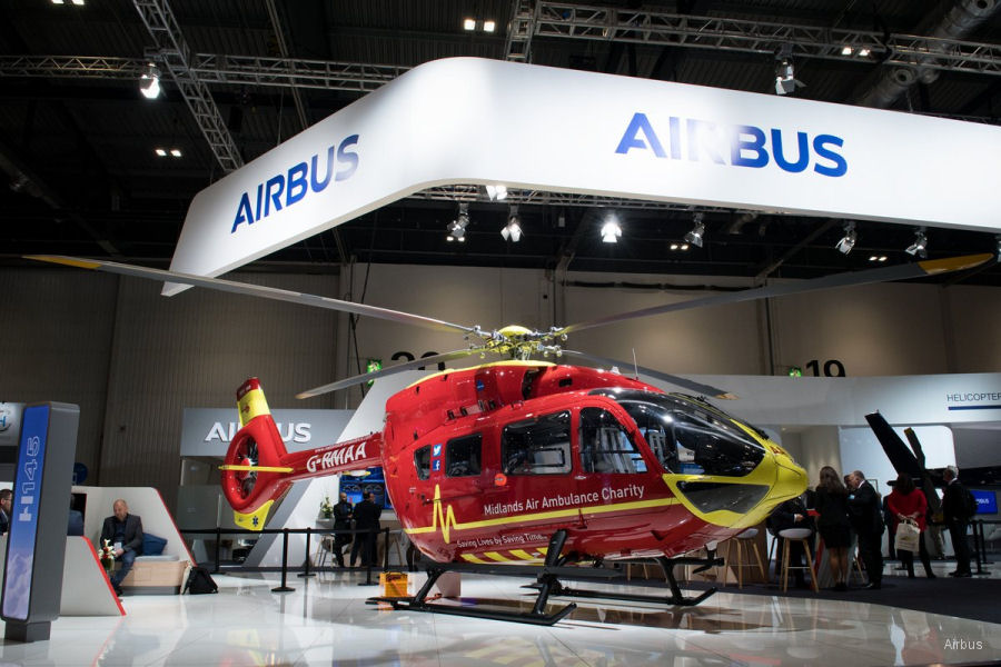 Airbus delivered the first H145/EC145T2 to the Midlands Air Ambulance Charity (MAAC) during Helitech 2017. Operated by Babcock Mission Critical Services (MCS)