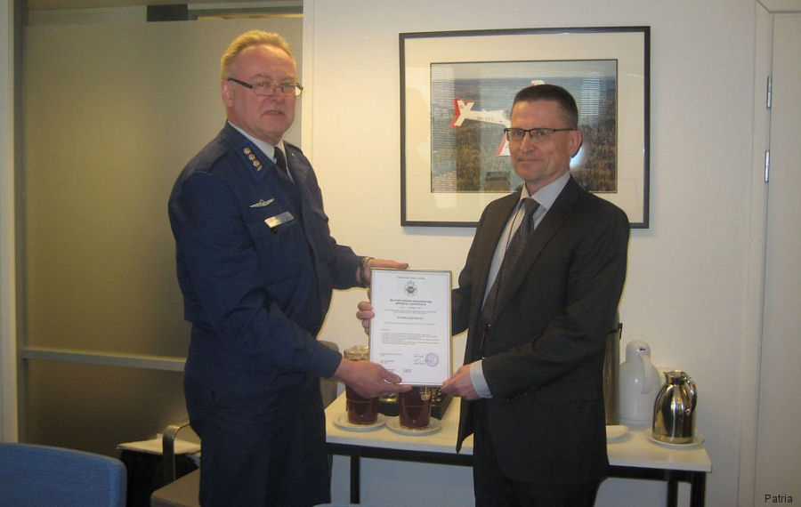 Patria first to receive the Military Design Organisation Approval in Finland