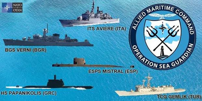 Three NATO ships provided by Turkey, Italy and Greece deployed in the eastern Mediterranean in a standing Maritime Security Operation named Sea Guardian (OSG)