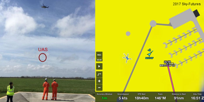 Sky-Futures and Bristow successfully conducted their first interoperability test between a helicopter and an unmanned aircraft at Galliano, Louisiana