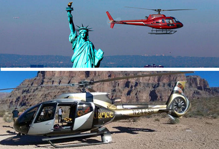 Grand Canyon and New York helicopter tours named between ten America's most popular tour. TripAdvisor data based on bookings from March 2016 thru March 2017