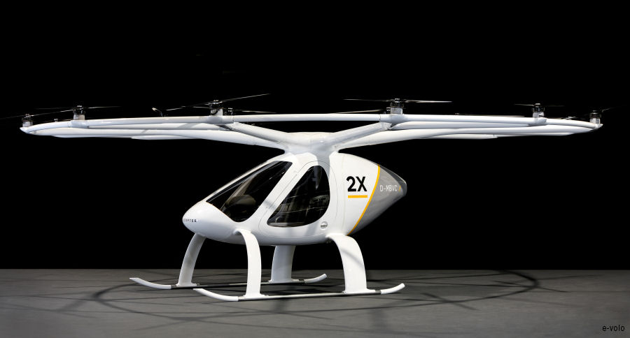 e-volo presenting the Volocopter 2X, powered purely by electricity and capable of carrying 2 passengers, at the general aviation trade fair AERO in Friedrichshafen, Germany, April 5-8