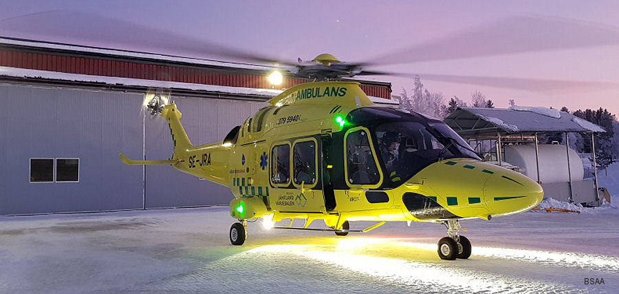 Babcock Scandinavian AirAmbulance (BSAA) started first AW169 Emergency Medical Service (EMS) in the Nordics. Replaced AS365N2 based in Jämtland Härjedalen since 2006. Three more bases to join in 2018