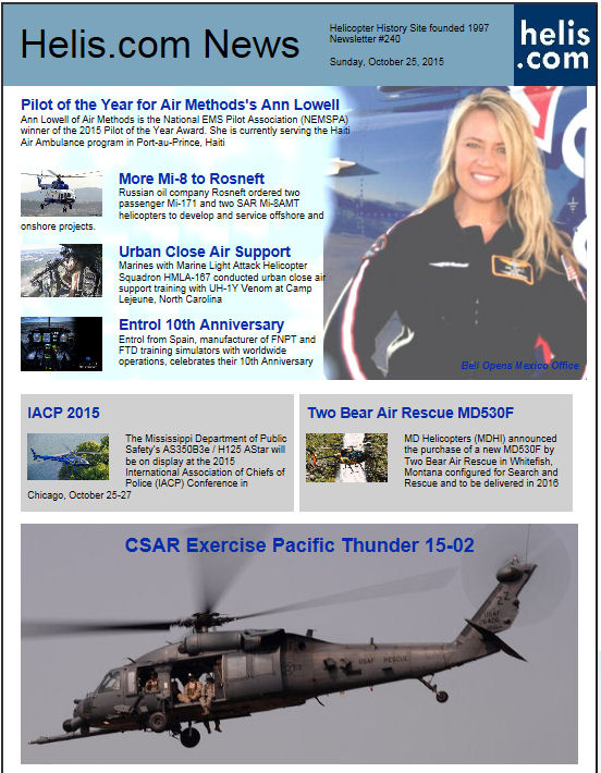 Helicopter News October 25, 2015 by Helis.com