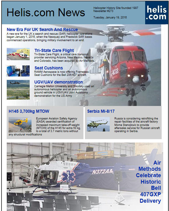 Helicopter News January 19, 2016 by Helis.com