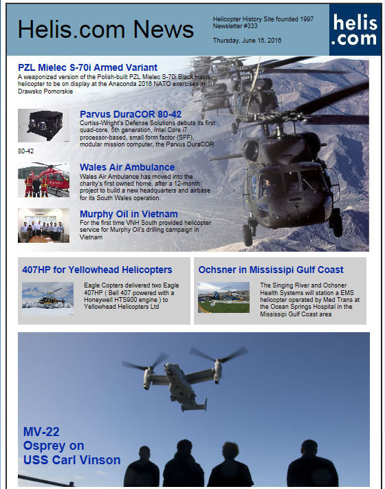 Helicopter News June 16, 2016 by Helis.com