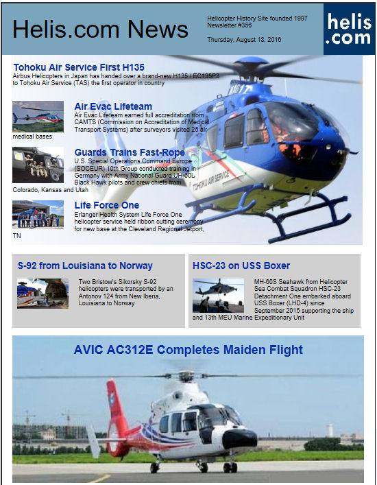 Helicopter News August 18, 2016 by Helis.com