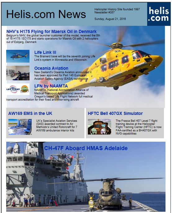 Helicopter News August 21, 2016 by Helis.com