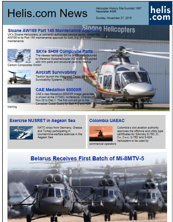 Helicopter News November 27, 2016 by Helis.com