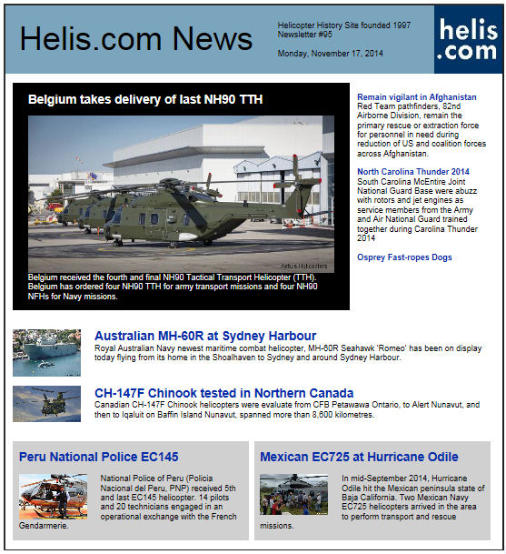 Helicopter News November 17, 2014 by Helis.com