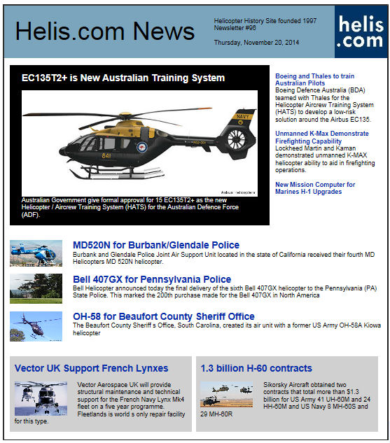 Helicopter News November 20, 2014 by Helis.com